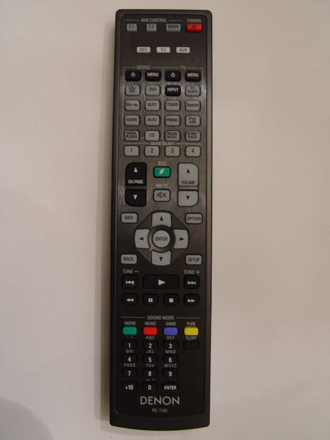 Denon RC-1193 Remote Control Part # 30701016200AD