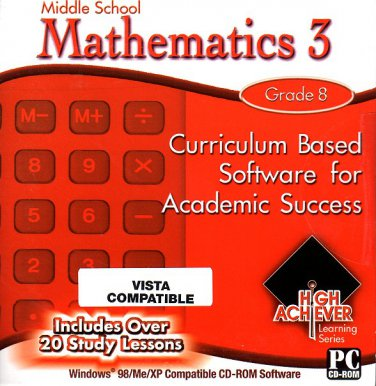 High Achiever Middle School Mathematics 3 (Grade 8) CD-ROM for Win - NEW in SLV
