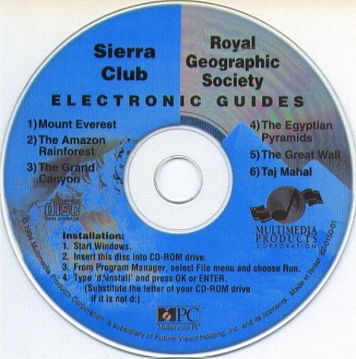 Sierra Club Electronic Guide CD-ROM for Windows - NEW CD in SLEEVE
