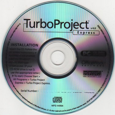 TurboProject Express v4.0 CD-ROM for Windows - NEW CD in SLEEVE