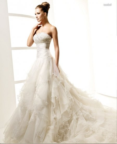 Strapless Style LACE Wedding Dress Bridesmaid Bridal Gown Custom