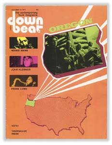 Down Beat - October 10, 1974 - Oregon (Band) featured on Cover