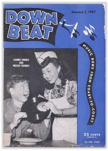 Down Beat - January 1, 1947 - Mickey Rooney & Connie Haines Cover