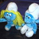 "Free Ship ~ Lot of 2 SMURFS Smurfette & Boy Smurf SITTING Peyo 10"" Wallace Berrie PLUSH ~ GUC"