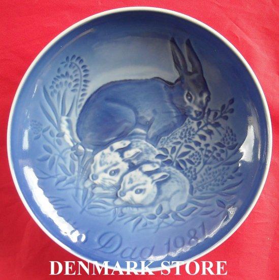 Danish Bing & Grondahl Copenhagen Mothers Day Plate HARE 1981