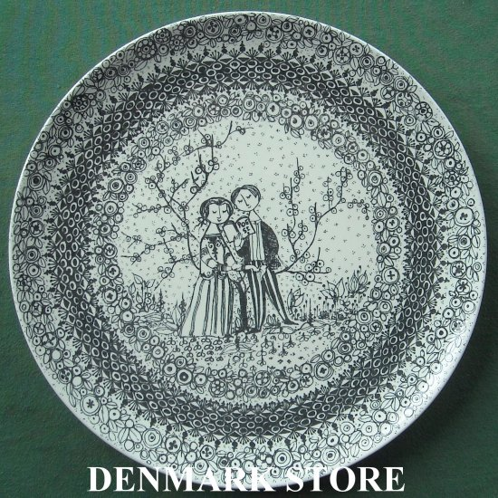 Danish Bjorn Wiinblad Nymolle The Seasons Spring 10 Inches Wall Plate Black