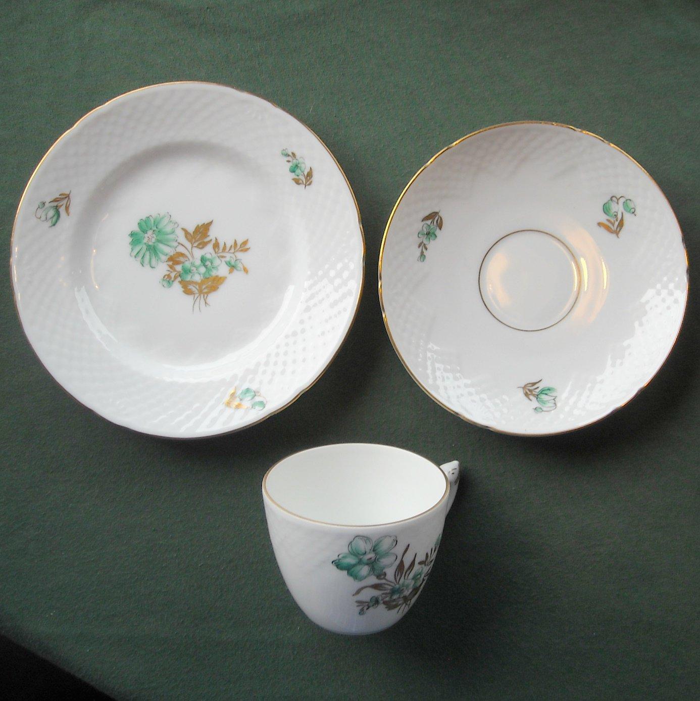 Danish Bing & Grondahl Copenhagen Green Gold Floral Cup Saucer Plate Set