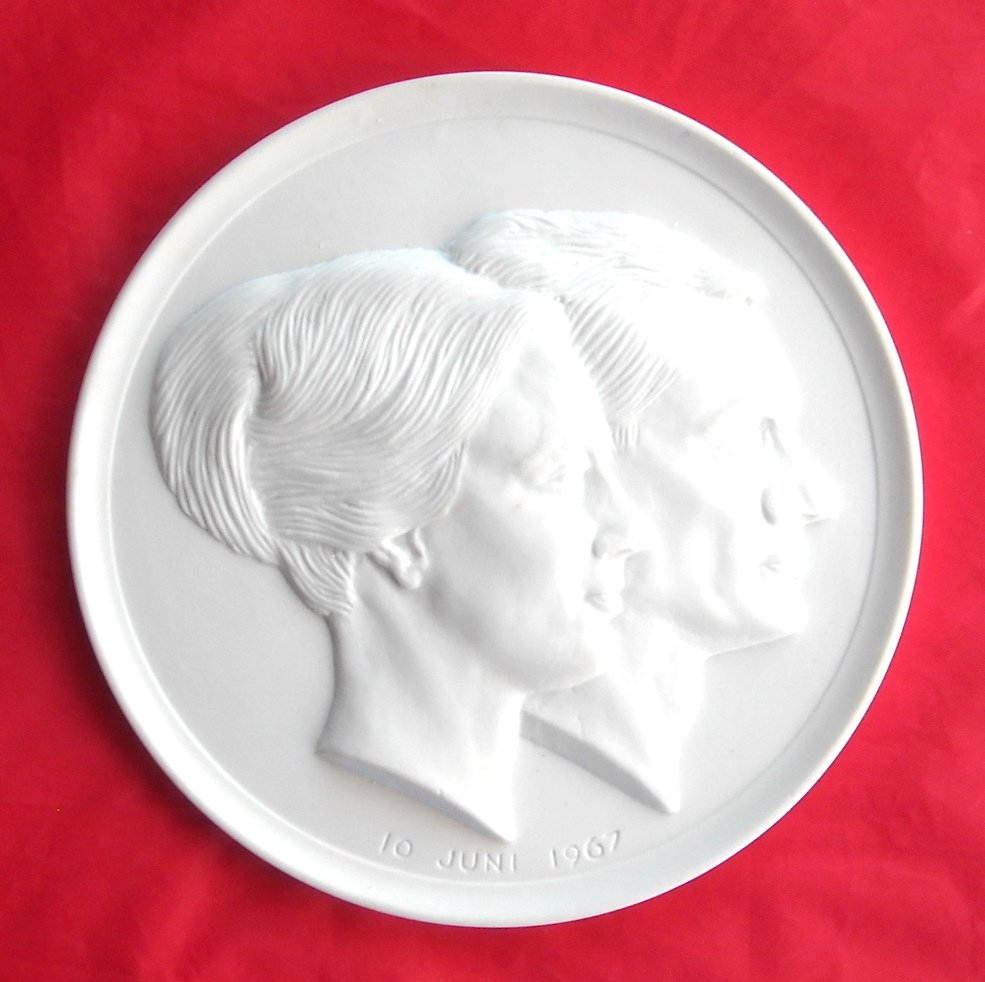 Rare Royal Copenhagen Denmark Margrethe Henrik Wedding 10 June 1967 Plate