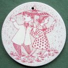 Danish Bjorn Wiinblad Nymolle April wall plate red