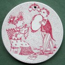 Danish Bjorn Wiinblad Nymolle September wall plate red