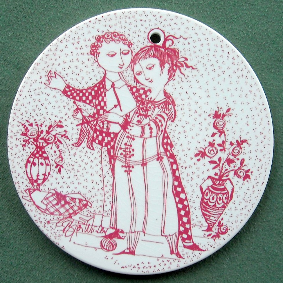 Danish Bjorn Wiinblad Nymolle November wall plate red