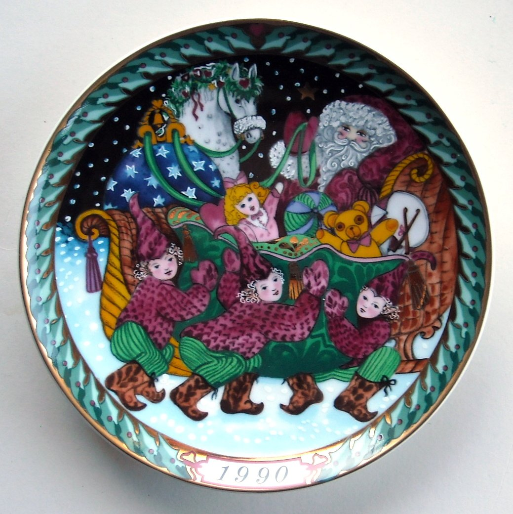 Bing & Grondahl Copenhagen Santa Claus Santas Sleigh Plate 1990