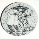Bjorn Wiinblad Nymolle Denmark April Konflikt wall plate black