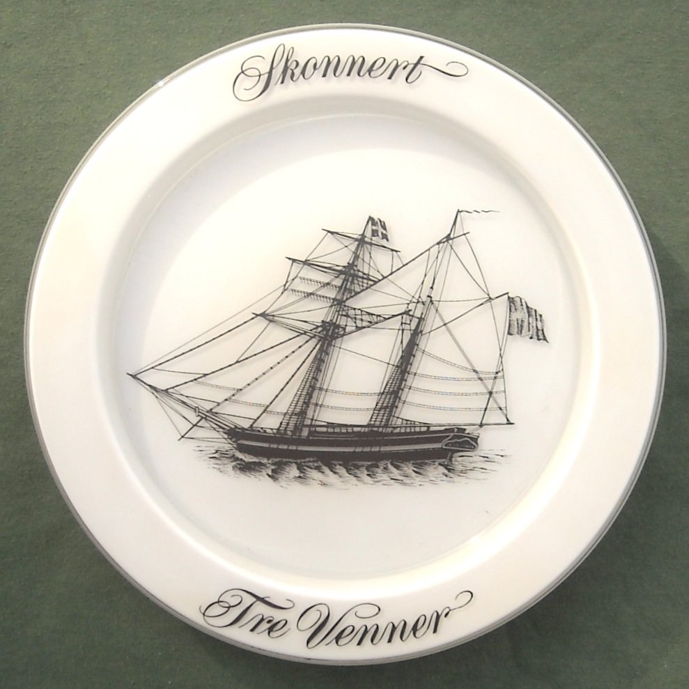 Ships Plate Holmegaard Copenhagen Milk Glass Fregat Three Friends 1972