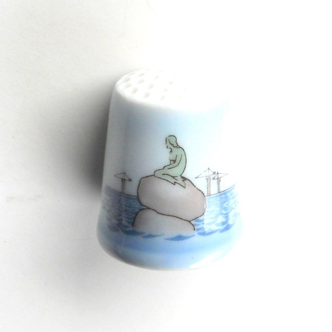 Bing & Grondahl Little Mermaid Blue Porcelain Thimble