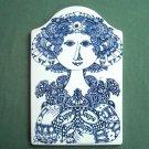 Danish Bjorn Wiinblad Nymolle Louise with the soup tall wall plate blue