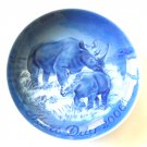 Mother's Day Plate Danish Bing & Grondahl Copenhagen Rhino And Baby 2006