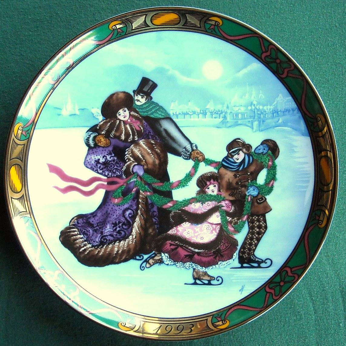 Danish Royal Copenhagen Denmark The Skating Party plate 1993