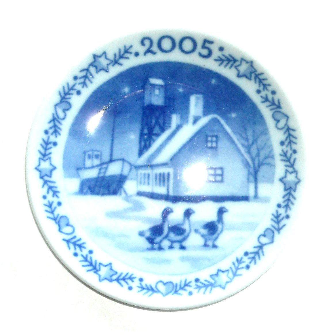 Royal Copenhagen Boxed Plaquette Mini Christmas Plate Ornament 2005