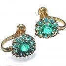 Vintage 1930s Art Deco Vermeil Sterling Blue Topaz-Colored Glass Earrings