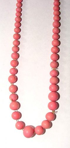 Graduated Antique Porcelain Exotic Pink Beads Necklace
