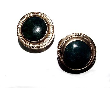 Antique Victorian Round Black Onyx Cufflinks