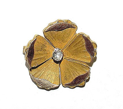 Antique Victorian Elegant Two Color Gold Filled Flower Brooch
