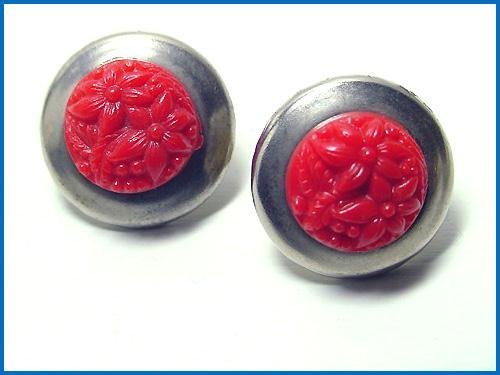 Vintage 1930s Art Deco Red Celluloid and Chrome Earrings - Free USA Shipping