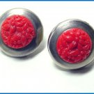 Vintage 1930s Art Deco Red Celluloid and Chrome Earrings