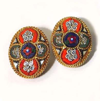 Colorful Cruciform Vintage Mosaic 1950s Clip Earrings - Free USA Shipping