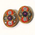 Colorful Cruciform Vintage Mosaic 1950s Clip Earrings