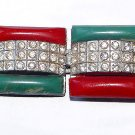 Antique Art Deco Red and Green Celluloid and Rhinestones Belt Buckle