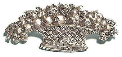 Vintage Sterling Basket with Roses and Fruit Brooch