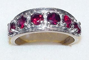 14k White Gold Garnets Band Ring - Vintage