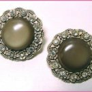 Large Vintage Frosted Lucite and Featherlite Earrings