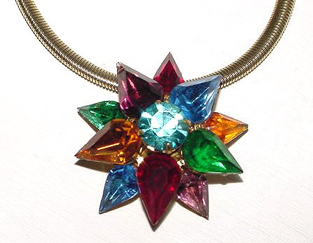 1930s Signed Coro Multicolor Starburst Pendant