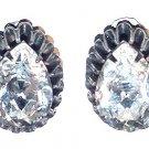 Signed Hattie Carnegie Large Pear Rhinestone Earrings
