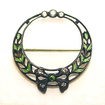 Signed Ballou Antique Edwardian Sterling and Enamel Wreath Brooch