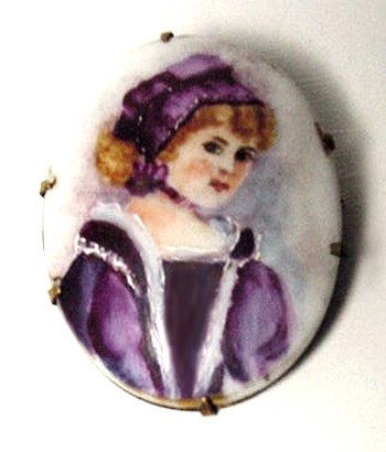 Victorian Handpainted Portrait Brooch