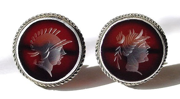 Victorian Carnelian Intaglio Cameo and Silver Earrings