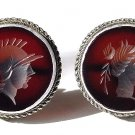 Late Victorian Carnelian Intaglio Cameo and Silver Earrings
