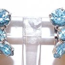 Vintage Eisenberg Ice Blue Rhinestone Clip Earrings