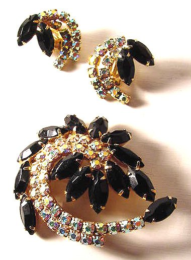 Aurora Borealis and Black Marquise Juliana Demi-Parure