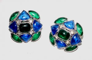 Signed Vendome Poured Glass Cabochon Earrings
