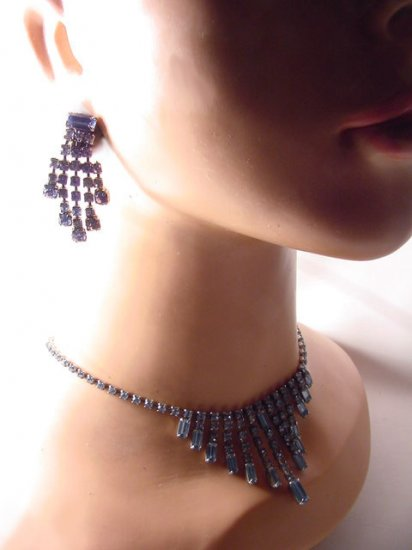 Vintage c1960 Aquamarine Rhinestones Fringe Necklace and Earrings Set