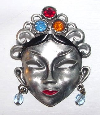 c1930 Art Deco Figural Oriental Mask Brooch with Colored Rhinestones