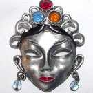 c1940 Art Deco Mysterious Oriental Mask Brooch