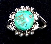 Signed Navajo Sterling Turquoise Ring by Rose Castillo Draper