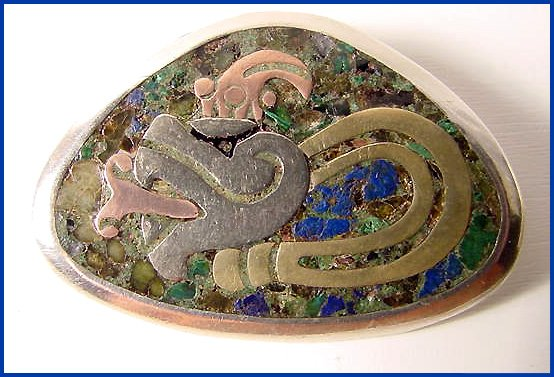 Mixed Metals (Metales Casados) Vintage Mexican Sterling Serpent Brooch