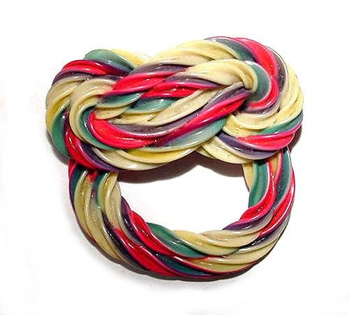 Multicolored Vintage 1930s Twisted Knot Celluloid Brooch